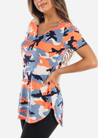 Bright Orange Camo V-Neck Shirt