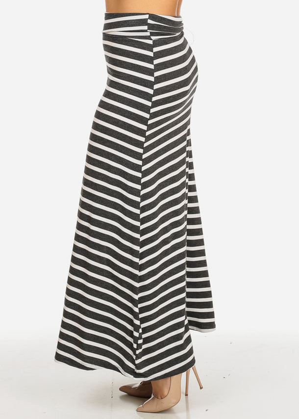Charcoal and White Stripe Maxi Skirt