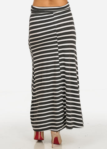 Image of Charcoal and White Stripe Maxi Skirt