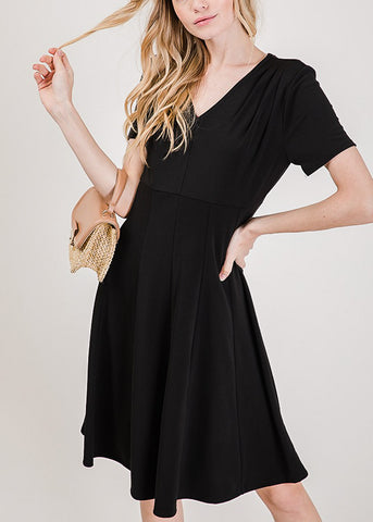 Image of Short Sleeve Fit & Flare Black Dress