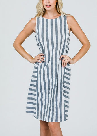 Image of Sleeveless Stripe Grey Dress