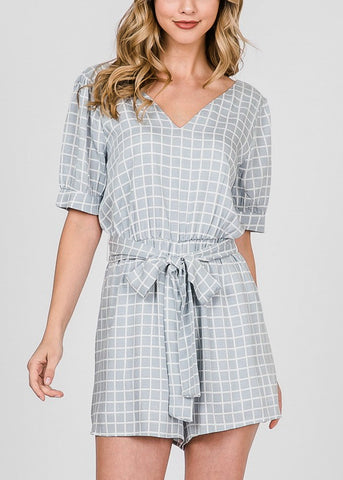 Image of Short Sleeve Printed Grey Romper