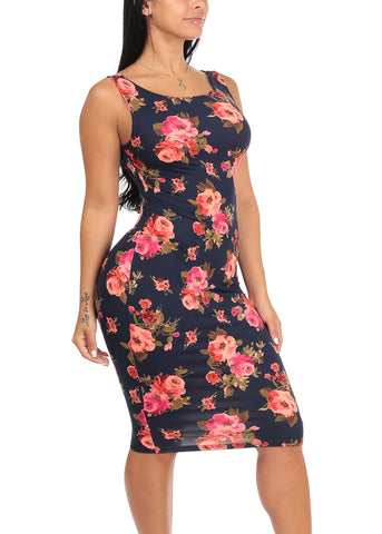Image of Sexy Slim Fit Bodycon Sleeveless Floral Print Navy Midi Knee Length Stretchy Dress