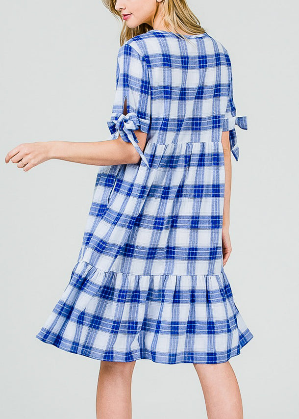 Lightweight Blue Plaid Dress