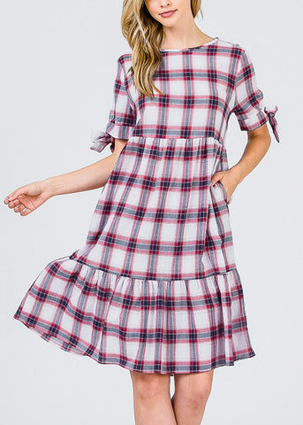 Image of Lightweight Red Plaid Dress