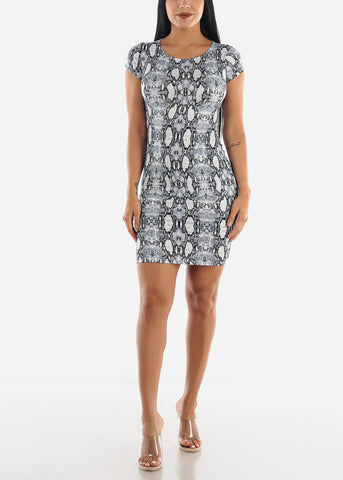 Image of Blue Snake Print Dress