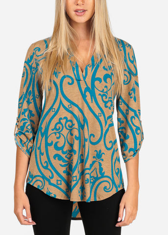 Women's Junior Stylish Going Out Dressy Super Stretchy 3/4 Sleeve Blue Floral Print Khaki Blouse