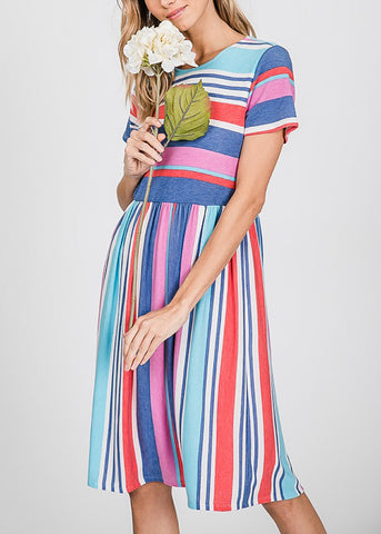 Multicolor Stripe Blue Dress