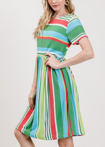 Multicolor Stripe Green Dress