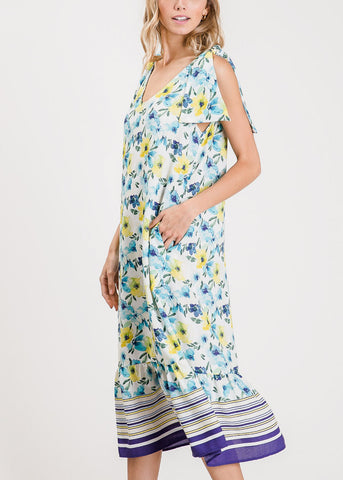 Lightweight Floral Blue Maxi Dress