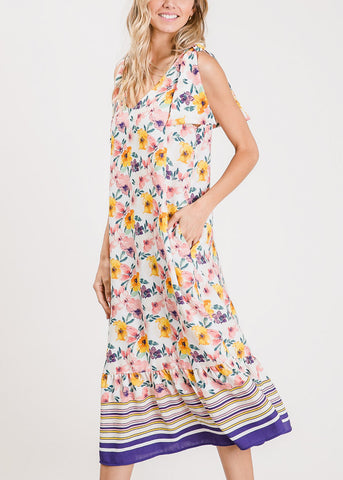 Lightweight Floral Coral Maxi Dress