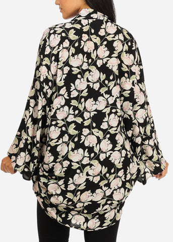 Image of Ruched Floral Print Black Cardigan