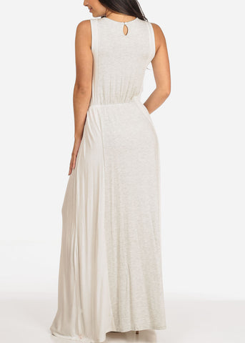 Women's Junior Ladies Sexy Must Have Beach Summer Sun Light Grey And White Elastic Waist Maxi Dress