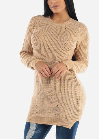 Sexy Beige Cozy Warm Slip On Sweater
