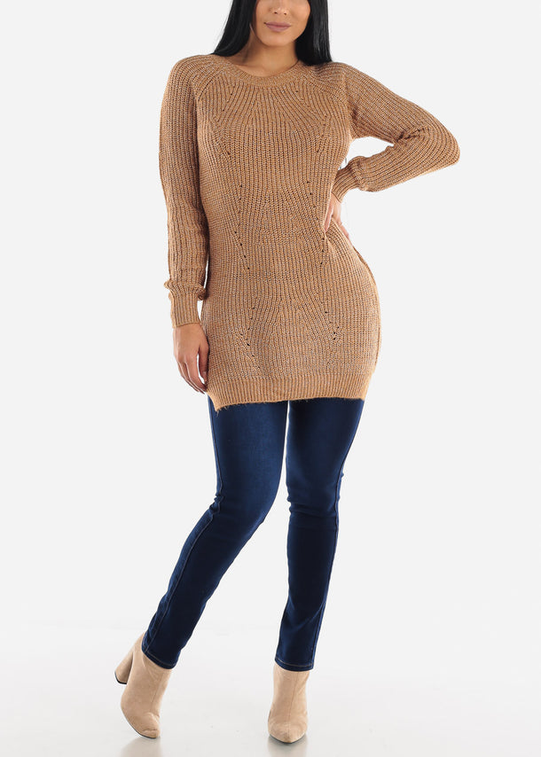Sexy Coffee Cozy Warm Slip On Sweater