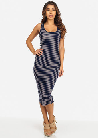 Image of Casual Striped Tank Midi Dress