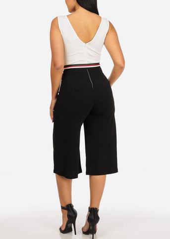 Two Tone Dressy Cropped Jumpsuit