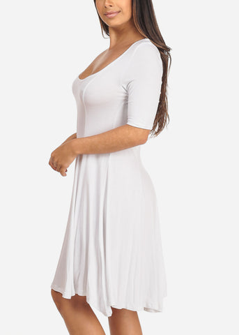Women's Junior Ladies Casual Short Sleeve Stretchy Comfortable Round Neckline Flare White Dress