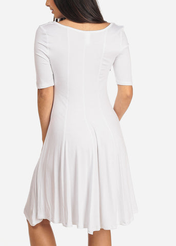 Image of Women's Junior Ladies Casual Short Sleeve Stretchy Comfortable Round Neckline Flare White Dress