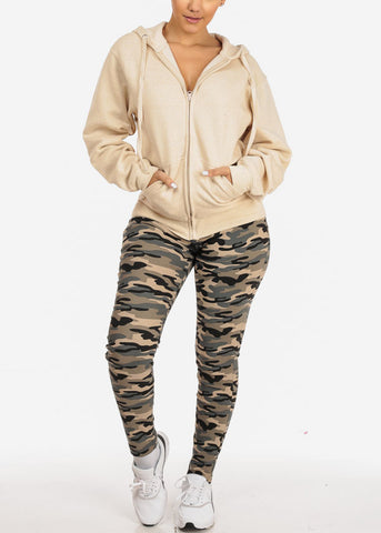Image of Oatmeal Stretchy Sweatshirt Hoodie