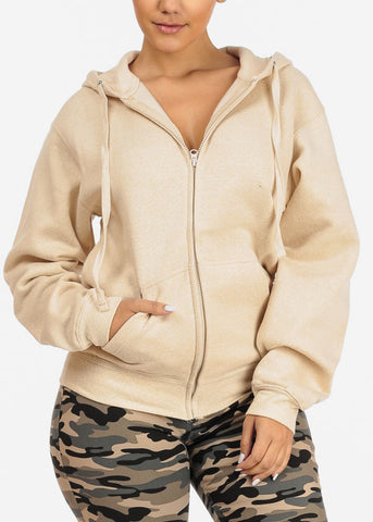 Cheap Oatmeal Stretchy Sweatshirt Hoodie