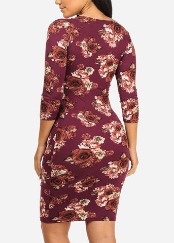 Image of Purple Rose Bodycon Dress