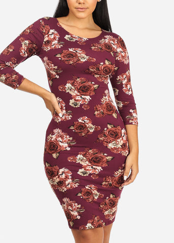Purple Rose Bodycon Dress
