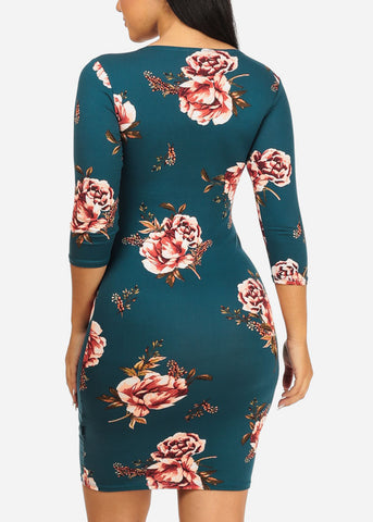 Teal Rose Bodycon Dress