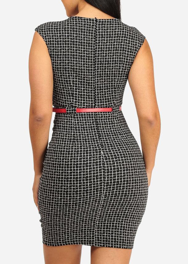 Elegant Two-Tone Plaid About Knee Print Dress