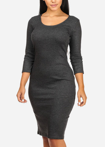 Image of Charcoal Back Lace-up Midi Dress