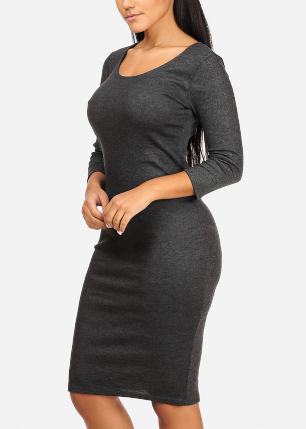 Charcoal Back Lace-up Midi Dress