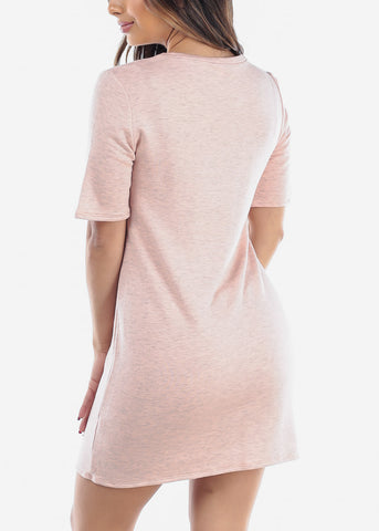 Image of Women's Junior Ladies Casual Going Out Stretchy Comfy Short Sleeve T Shirt Pink Dress Clearance Sale