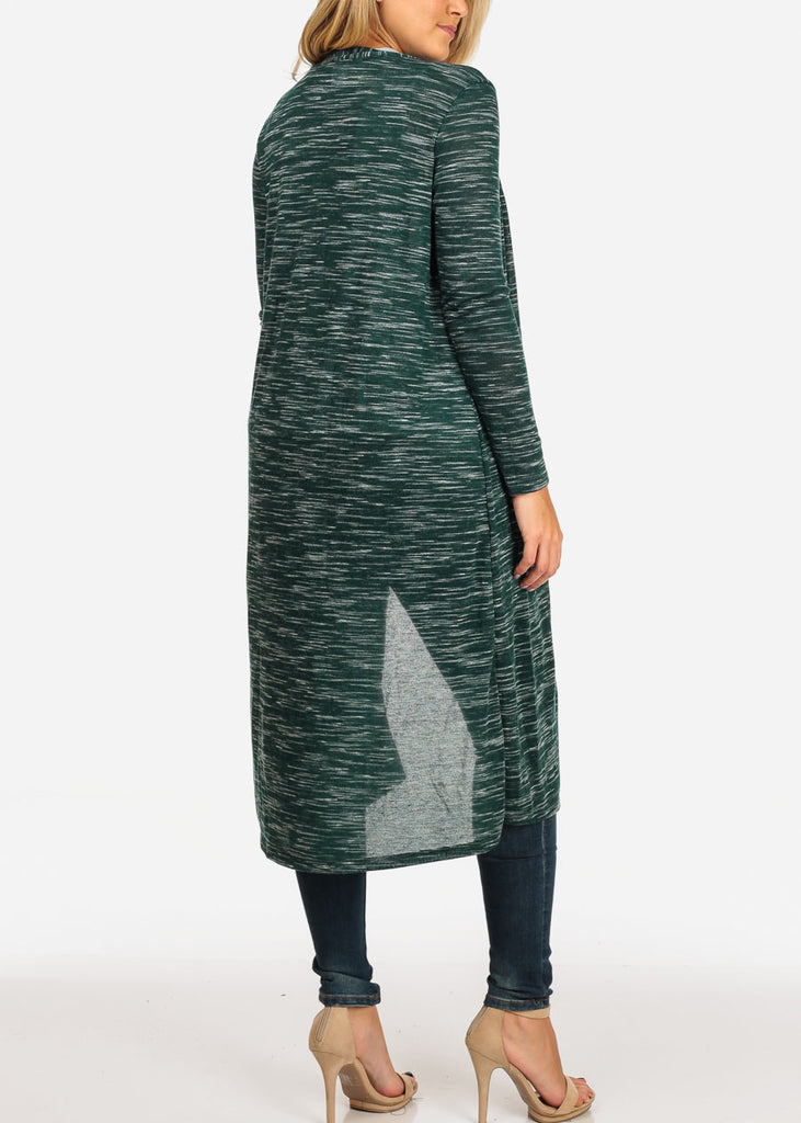 Women's Junior Stylish Cozy Long Sleeve Open Front Heather Print Green Maxi Cardigan