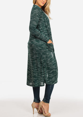Image of Women's Junior Stylish Cozy Long Sleeve Open Front Heather Print Green Maxi Cardigan