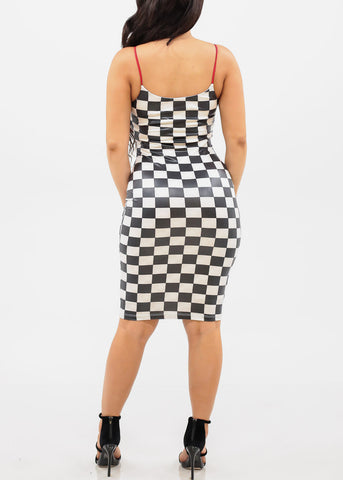 Image of Women's Junior Ladies Sexy Stylish Trendy Must Have Night Out Clubwear Stretchy Spaghetti Strap Checkered Print Bodycon White And Black Dress