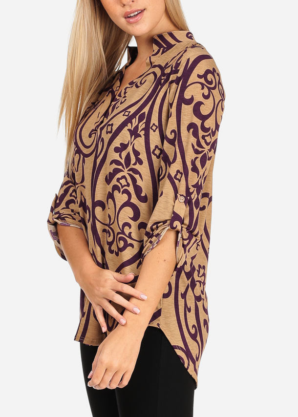 Purple Floral Print Khaki Blouse
