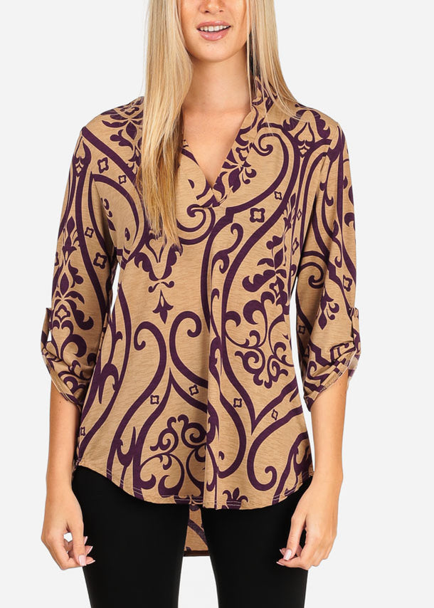 Women's Junior Stylish Going Out Dressy Super Stretchy 3/4 Sleeve Purple Floral Print Khaki Blouse