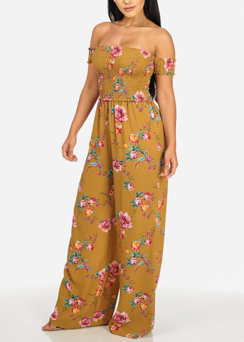 Image of Mustard Off-Shoulder Sleeve Floral Jumpsuit