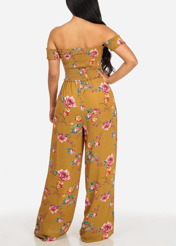 Mustard Off-Shoulder Sleeve Floral Jumpsuit