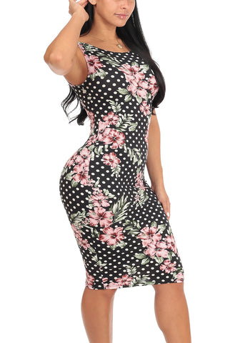 Image of Sexy Slim Fit Bodycon Sleeveless Polka Dot & Floral Print Black Midi Knee Length Stretchy Dress