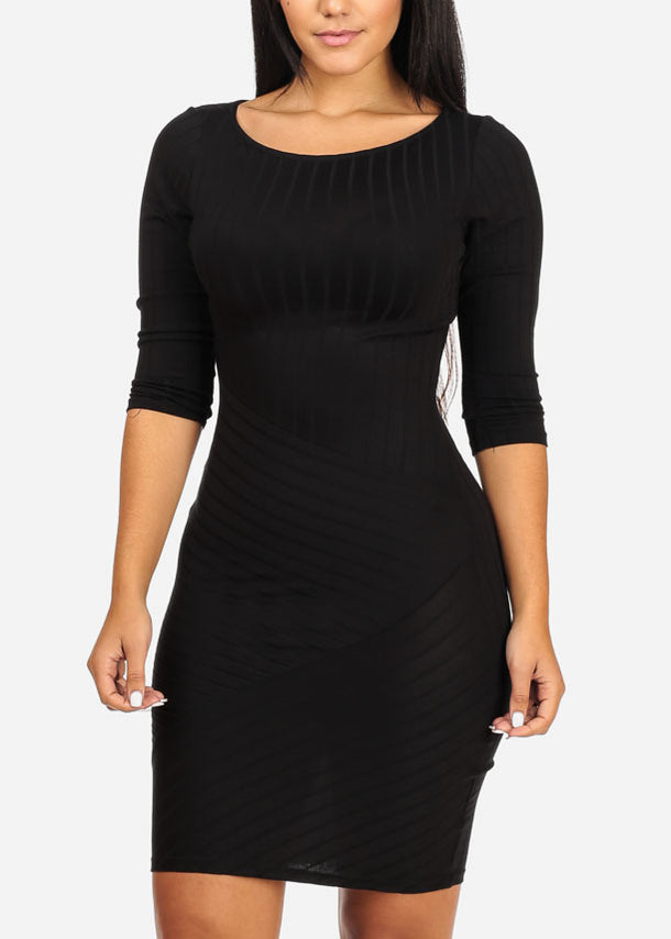 Stylish Bodycon Stripe Black Dress