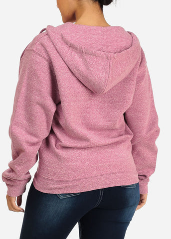 Heather Pink Stretchy Sweatshirt Hoodie