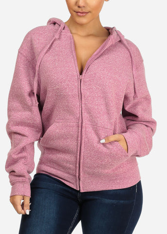 Image of Heather Pink Stretchy Sweatshirt Hoodie