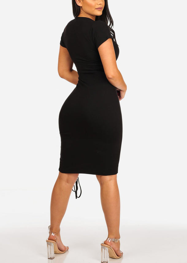 Lace Up Black Midi Dress