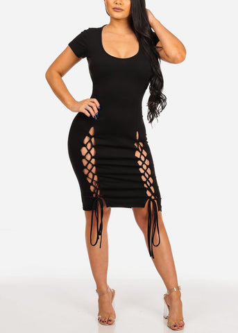 Women's Junior Casual Night Out Sexy Super Stretchy Solid Round Neckline Lace Up Front Detail Black Midi Below The Knee Dress