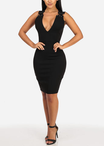 Image of V Neckline Sleeveless Lace Up Solid Back Dress