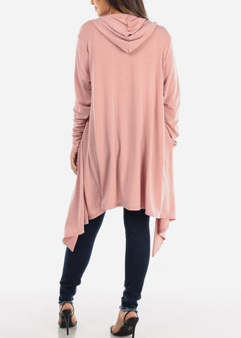 Image of Pink Long Hooded Cardigan BT2333ROSE