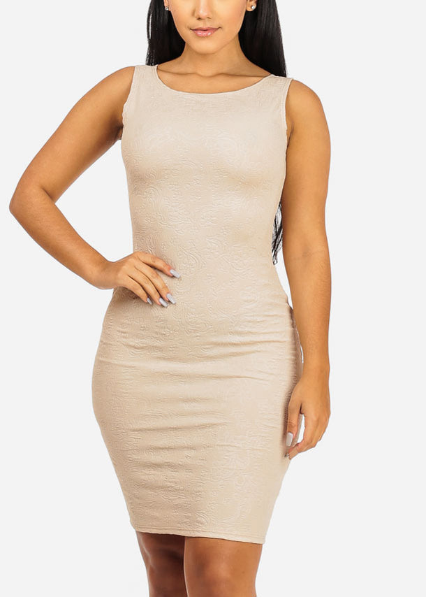 Beige Sleeveless Boat Neckline Dress