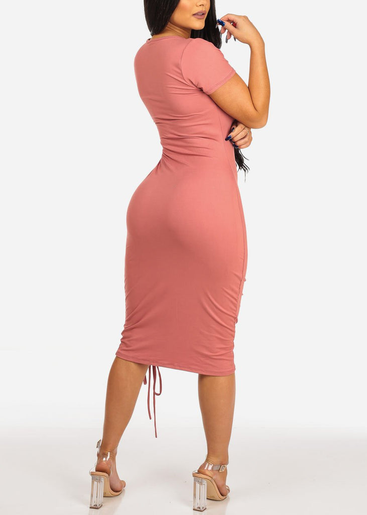 Women's Junior Casual Night Out Sexy Super Stretchy Solid Round Neckline Lace Up Front Detail mauve Midi Below The Knee Dress