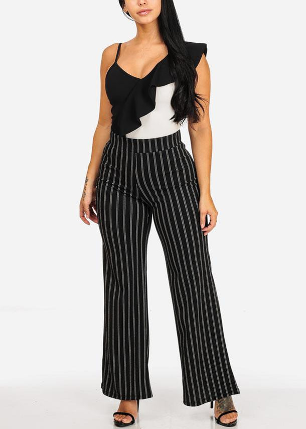 High Waisted Stripe Black Dressy Pants